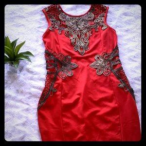 🔥Dark orange dress with bronze embroidery details